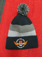 Disc Golf Beanie -Removable Pom Top - Skull and Basket- Black with Neon Orange!