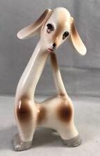 Vtg Big Eyed Mod Retro Ceramic Brown White Hound Dog Figurine Japan long neck