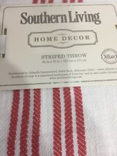 """NWT Southern Living Linen White with Blue Striped Throw Fringe 50"""" X 70"""" $99 QFR"""