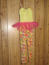 WEISSMAN DANCE JAZZ ACRO CLOWN HALLOWEEN PLAY COSTUME IC CHILD 7-8 PINK & YELLOW