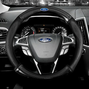 """15"""" Car Steering Wheel Cover Genuine Leather For Ford Black"""