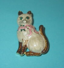 CAT Pin White Fur Brown Tail Ears Brooch Green Eyes Pink Roses Ribbon New Kitten