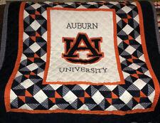 "Auburn University Lap Quilt Baby Blanket 49X58"" Warm Quilted Game Blue Orange"