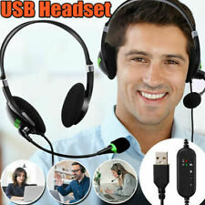 USB Headset Computer Headphone Earphones with Mic Noise Cancelling Lightweight