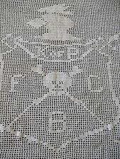 "RARE Antique Knights Pythias Handmade Crochet lg Panel Skull  FBC K of P 22x24"""