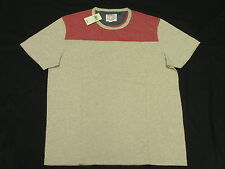 $39 NWT NEW Mens Lucky Brand T-Shirt Oceanside Football Tee Beige Red Sz L M668