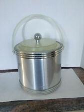Vintage Georges Briard Mid Century Silver Ice Bucket Barware Lucite Handle