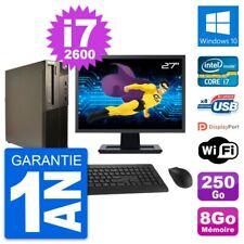 "PC LENOVO M82 SFF Screen 27 "" Intel i7-2600 RAM 8Go Disk 250Go Windows 10 Wifi"
