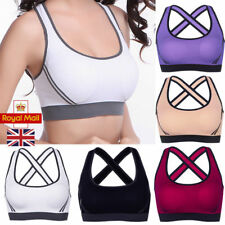 UK Womens Yoga Sports Running Bra Crop Top Vest Stretch Bras Shaper Padded New