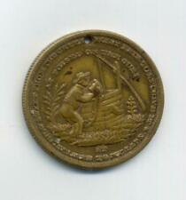 New ListingAntique Temperance Token Old Brass Man At Well Sobriety Anti-Alcohol Exonumia