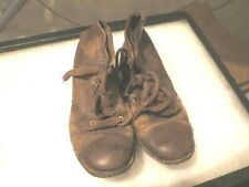 Very Rare Antique Seiberling Childs kids Brown Leather Shoes Well Used vintage