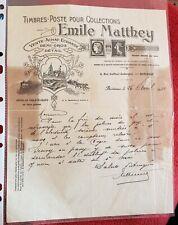 TIMBRES POSTE POUR COLLECTIONS EMILE MATTHEY Facture illustrée (26 avril 1932)