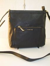 MICHAEL KORS Morgan Black Medium Top Zip Crossbody Leather Bag - $228