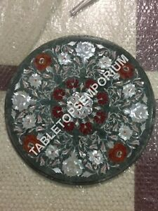 """18"""" Marble Bedroom Side Table Top Marquetry Inlay Floral Furniture Decor E756A"""