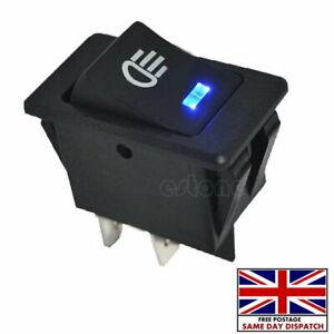 12V 35A Universal Car Fog Light Rocker Switch BLUE LED Dash Dashboard 4Pins UK