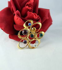 Vintage Colorful Rhinestone Gold tone Pin Brooch Cat Rescue