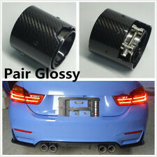 Pair Glossy Carbon Fiber Exhaust tip For BMW M Performance 71MM IN 93MM OUT NEW