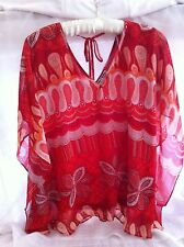 Women Ladies  Kate & Mallory Red Top Blouse Size L Butterfly Sleeve