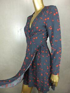 ROLLA'S MINI DRESS : WRAP DRESS: BLUE RED FLORAL : SIZE XS- S