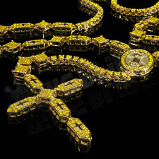14k Gold CANARY CZ Iced Out ROSARY SHAPES Jesus Cross Pendant Men Necklace Chain