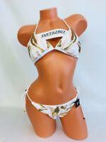 Victoria's Secret Bikini~Bling Sequin Padded Triangle Top~Side Tie String~Sz M/L