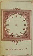 1879 French Puzzle Card Nicoll Tailor Electric Light Used Clock No Hands F80