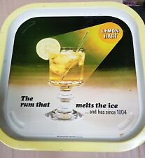 Vintage Metal Tin Serving Tray Lemon Hart Rum 'The Rum that Melts the Ice'