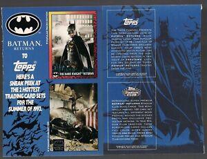 "BATMAN (KEATON) RETURNS MOVIE TOPPS 1992 UNCUT PROMO CARD SHEET 8"" X 5.5"" VFNM"