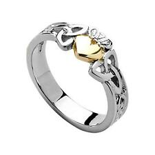 Silver & 10ct Gold Heart Irish Celtic Claddagh Trinity Knot Ring Jewellery Boxed