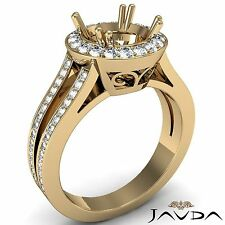18k Yellow Gold Halo Semi Mount 0.85Ct Natural Round Cut Diamond Engagement Ring