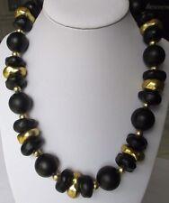 collier réglable bijou vintage perles baroques en belle résine noir et or 3530