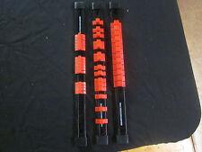 "RED 3pc WALL MOUNT MOUNTABLE TRAY SOCKET RAIL RACK 14"" 1/4"" 3/8"" 1/2"" SLIDER"