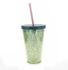 STARBUCKS Grande Green Floral Blossom Pink Straw Cold Cup Acrylic Tumbler 16 Oz