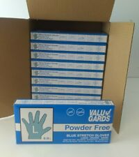 1000 Valu Gard Stretch Blue Gloves Powder/ Latex Free Size L 10 Boxes