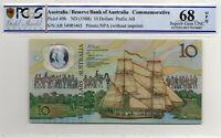 1988 Australia $10 Note Johnston/Fraser SUPERB GEM UNC 68 OPQ PCGS  AB 34985465