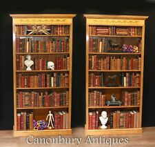 Pair Regency Bookcases - Open Sheraton Satinwood 7 ft English