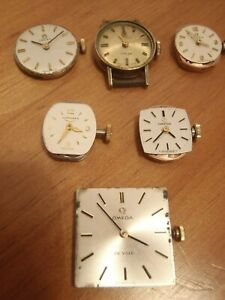 Vintage 4 Omega 1 Longines  1 Tissot Manual Wind Ladies Watch Movements + Crown