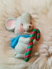 Vintage Holiday Christmas Mouse With Candy Cane Fashion Pin