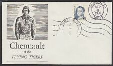 1990 Claire Chennaut 40c FDC Gilbert Louisiana UO Cancel Phil Sager 1st Cachet