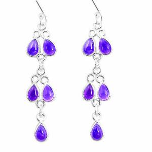 Beautiful Natural Purple Amethyst 925 Sterling Silver Chandelier Dangle Earrings