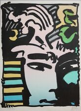PETER MAX-NY Pop Artist-Original Hand Signed LIM.ED Color Lithograph-Aztec Man