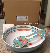 Longaberger Summer Lovin Melamine Blue Floral Large Salad Bowl & Tongs Set New