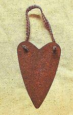 "Set of 2 Rusty 4-1/2"" Heart Ornaments w/ Homespun  -  Primitive"