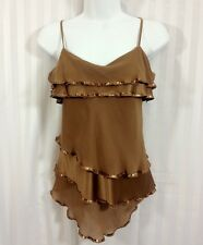 BEBE Sexy Cami Top Brown Sequin Silk Ruffles Assymetrical Size S Small
