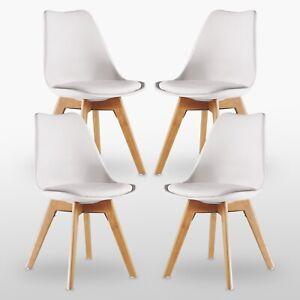White Jamie Lorenzo Tulip Dining Chair Padded Seat Eiffel Wood Legs SET of 4