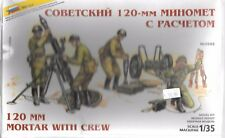 Zveda WWII Soviet 120mm Mortar with Crew,  Figures in 1/35 3503  ST