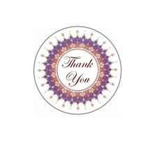 72 Thank You with Flower Ring #14 ENVELOPE SEALS LABELS STICKERS CELEBRATE 1.67""