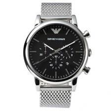 Emporio Armani AR1808 Men's Luigi Mesh Strap Black Dial Stainless Steel Watch