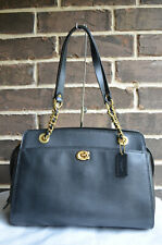 NWT $395 Coach 35575 Black Refined Calf Leather Parker Carryall Tote Satchel
