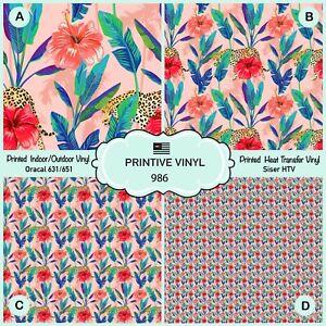 Tropical Banana Leaf Cheetah Patterned HTV, Iron on Vinyl, Adhesive Vinyl 986